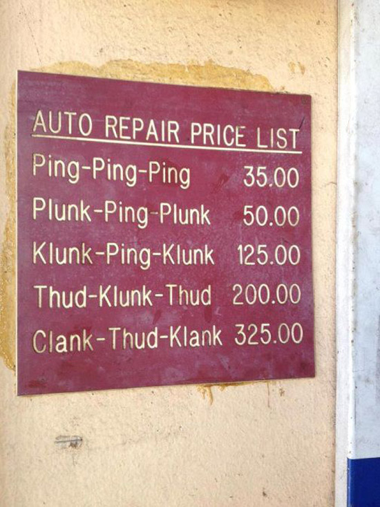 Auto repair price list